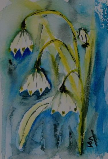 Bell Snowdrop painting (watercolour 10 x 15 cm)