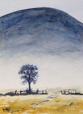 Beyond the Farm Gate (watercolour 10 x 15 cm) Artist: Vandy Massey