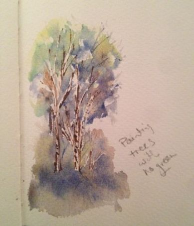 watercolour Tree sketch - painting without green. Artist: Vandy Massey