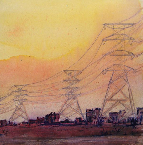 Shanty Town Energy (Watercolour 25 x 25.5 cm) Artist: Vandy Massey