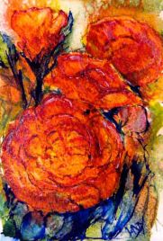 Rosy Glow (watercolour and acrylic ink 9 x 13 cm) Artist: Vandy Massey