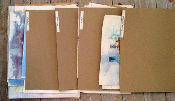 Folders for organising incomplete paintings. Getting it all together in my artists studio