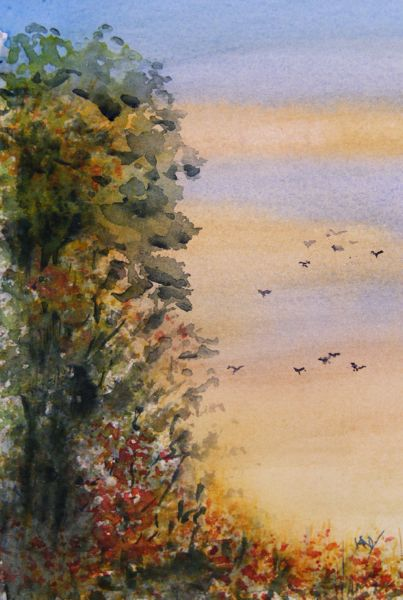 Small watercolour. Birds on the Beach (10 x 15cm)