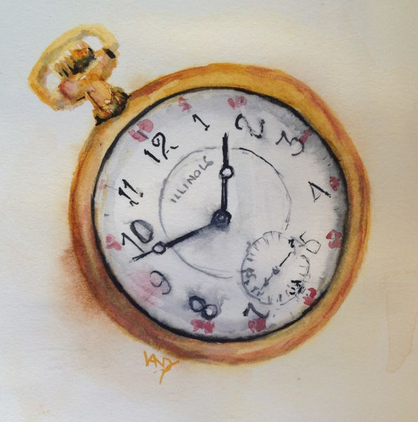 Artifacts paintings: Doug's Watch (watercolour 10 x 10 cm)