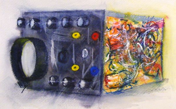 Oscilloscope (watercolour and acrylic ink). Creative Commons Attribution-NonCommercial-NoDerivatives 4.0 International License