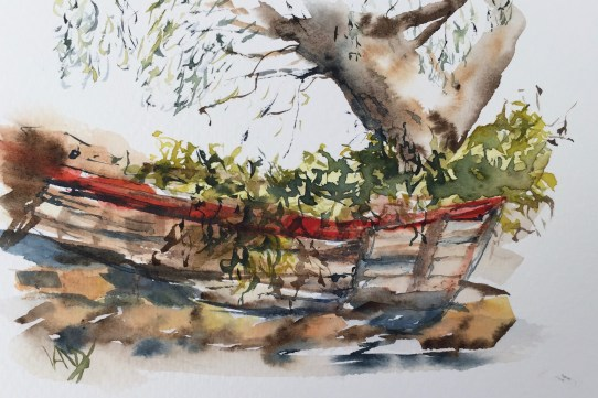 Recycled boat - painting Paxos watercolours