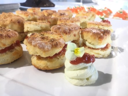 Cheese Scones with Tomato Relish and Cream Cheese