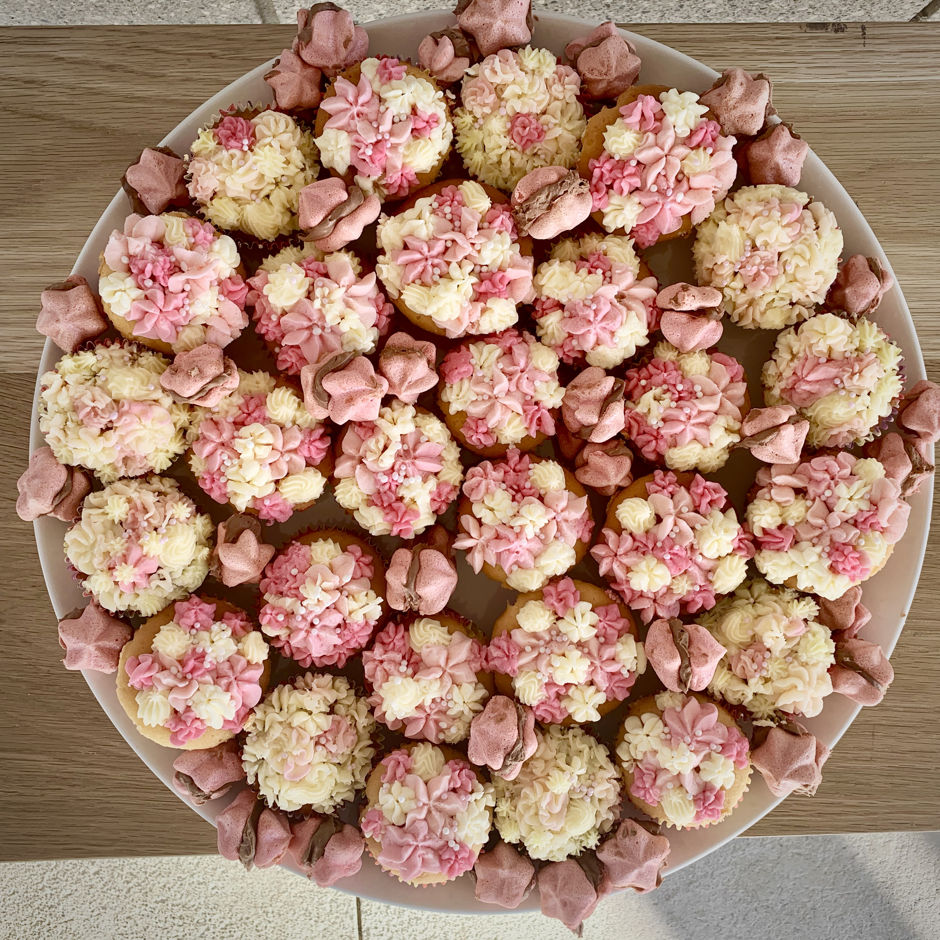 Cupcake Platter in pink and white for a fund raiser for breast cancer
