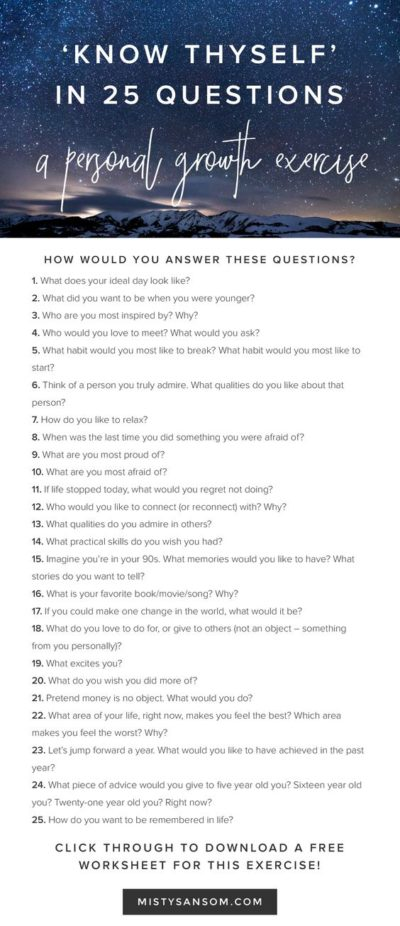 25 questions: personal growth exercise