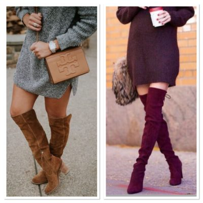 sweater dress with boots 1