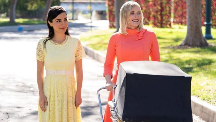 Barbara Crampton as Betty and Martha Higareda as Marisol in Into the Dark just one of many online tv shows.