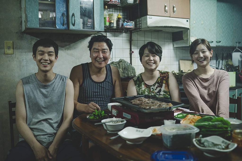 Kang-ho Song, Hye-jin Jang, Woo-sik Choi, and So-dam Park in Parasite, one of many recent film releases for South Korea that are excellent.