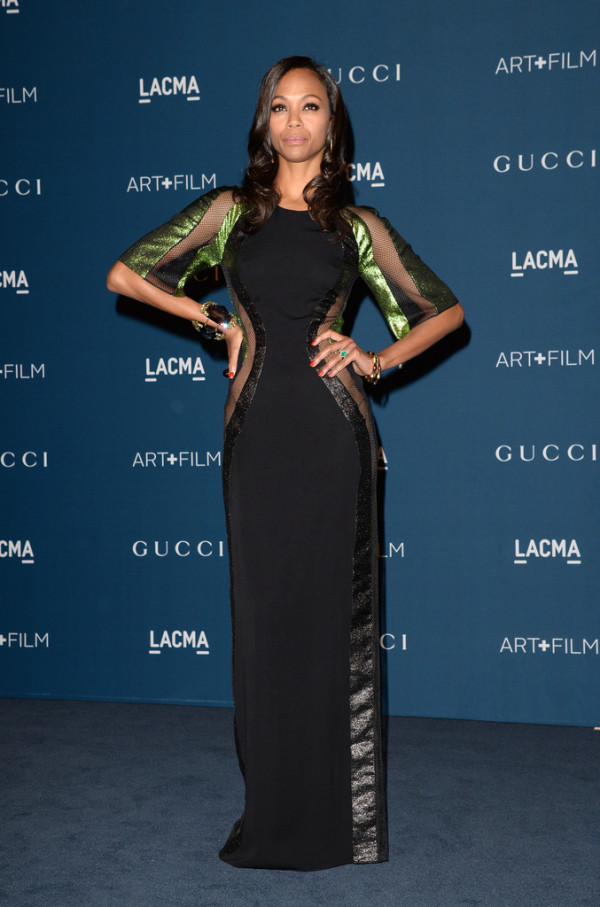 Zoe-Saldana-in-Gucci-LACMA-2013-Art-+-Film-Gala-honoring-Martin-Scorsese-and-David-Hockney-600x907
