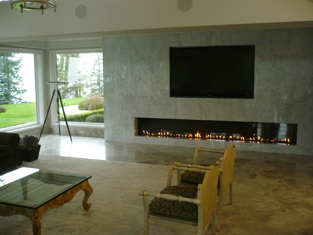 Long Linear Custom Fireplace  Vancouver Gas Fireplaces