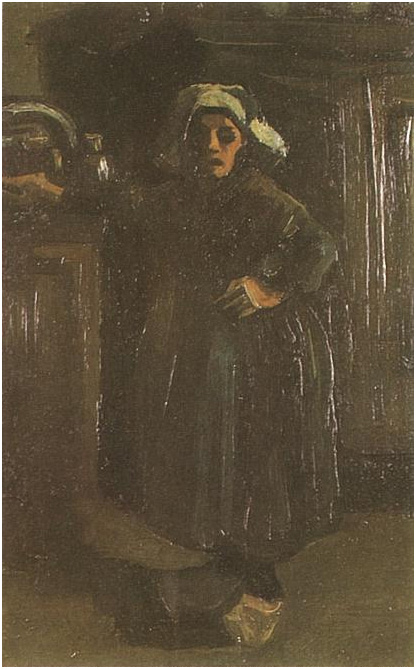 Peasant Woman Standing Indoors By Vincent Van Gogh 420