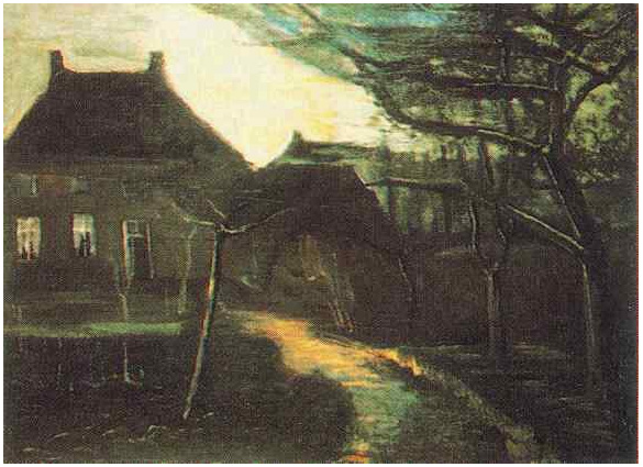 Parsonage At Nuenen By Moonlight The By Vincent Van Gogh