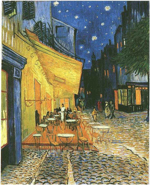 Vincent van Gogh's Terraza del café de la Place du Forum en Arles, por la noche Painting