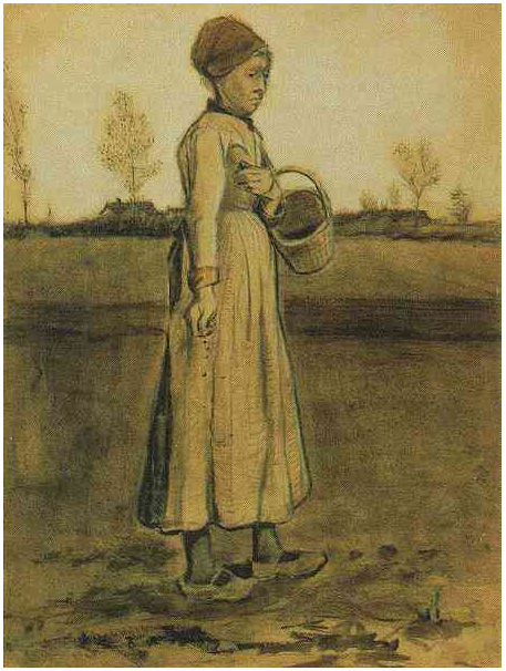 Peasant Woman Sowing With A Basket By Vincent Van Gogh 1861