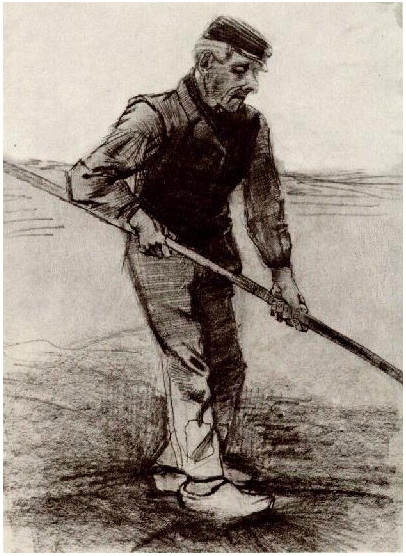 Peasant with a Stick by Vincent Van Gogh  1274  Drawing