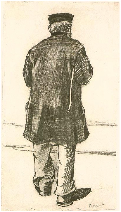 Orphan Man With Cap Seen From The Back By Vincent Van