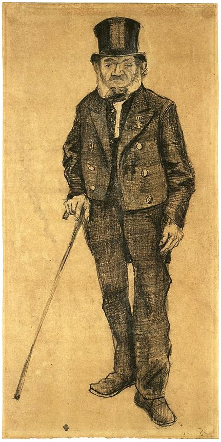 Old Man In A Tail Coat By Vincent Van Gogh 1190 Drawing