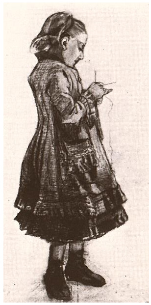 Girl Standing Knitting By Vincent Van Gogh 974 Drawing