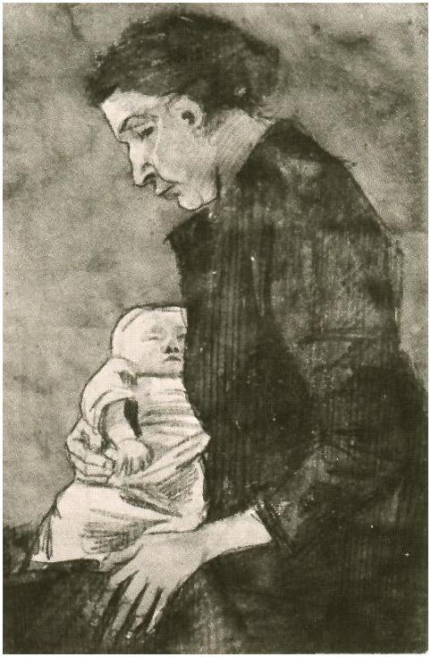 Sien Nursing Baby Half Figure By Vincent Van Gogh 1483