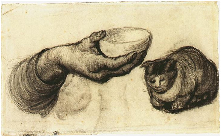Hand With Bowl And A Cat By Vincent Van Gogh 993 Drawing