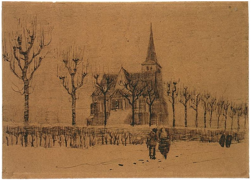 Landscape With A Church By Vincent Van Gogh 1101 Drawing