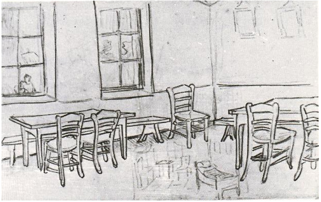 Interior of a Restaurant by Vincent Van Gogh  1074  Drawing