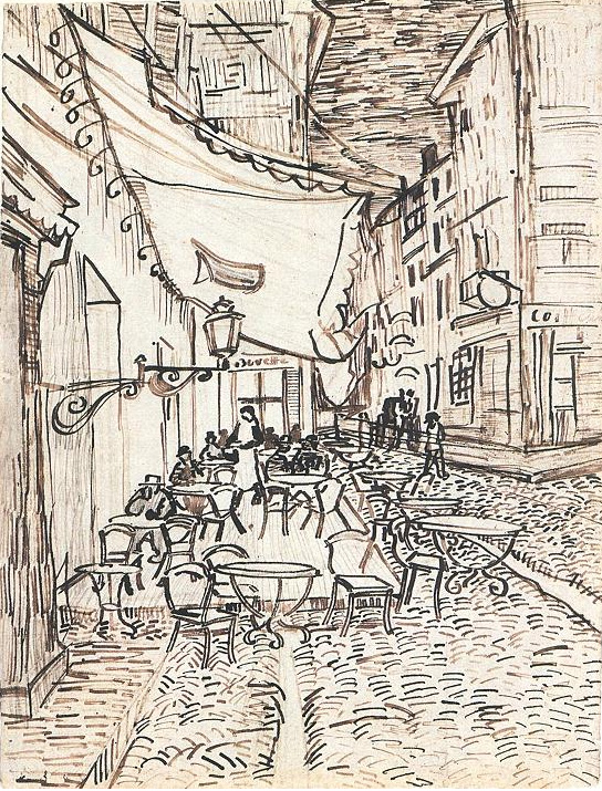 Cafe Terrace on the Place du Forum Arles at Night The by Vincent Van Gogh  826