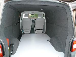 VW T5 Fitted with Anthracite Carpet Lining & Light Grey Altro Flooring
