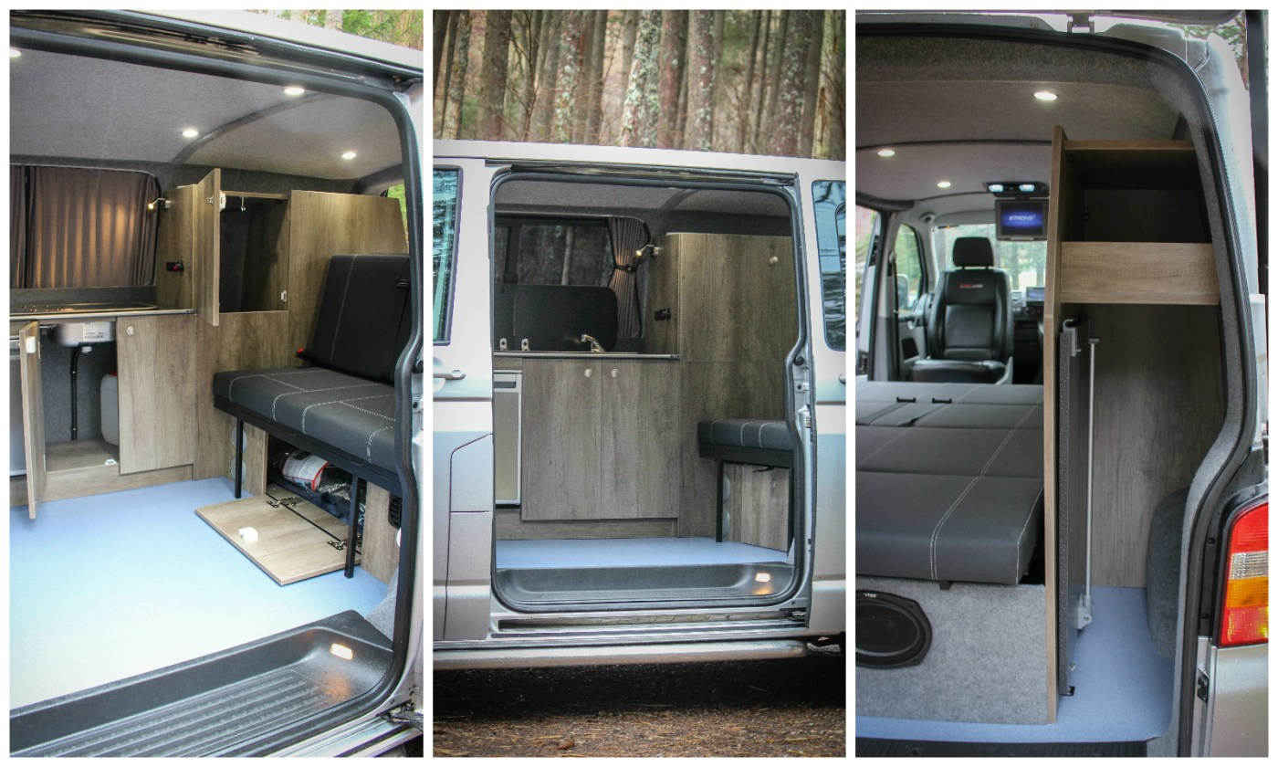 VW T5 Campervan Conversion SWB Furniture 3/4 rock and roll bed Waeco CR-50 Fridge Smev hob & sink under bed storage