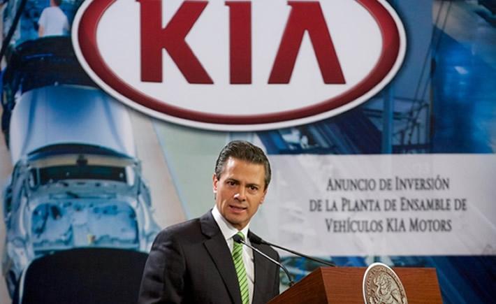 Será en 2016 cuando la surcoreana, KIA Motors, inicie operaciones en el estado con una capacidad de producción de 300,000 vehículos al año. (Foto: Presidencia)