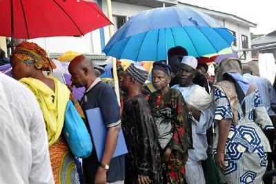 Civil Servants on  the queue for verification exercise.