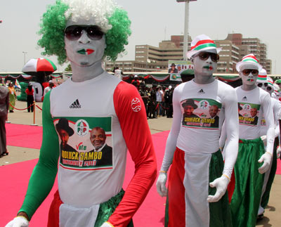 Mascots on parade at the PDP Presidential campaign in Abuja.