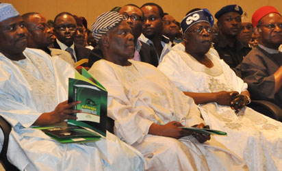 Colloquium—From left: Hon Aminu Tambuwal, Speaker of  House of Representatives; Chief Bisi Akande, ACN National Chairman; Asiwaju Bola Tinubu, Celebrant and Chief Emeka Anyaoku, former Secretary-General of the Commonwealth and chairman of the occasion, at the 4th Bola Tinubu Colloquium- 'Looking Back, Thinking Ahead'- to commemorate his 60th Birthday yesterday in Lagos. Photo: Bunmi Azeez