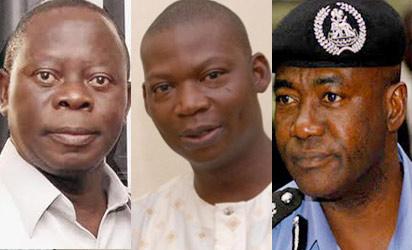 Gov Adams Oshiomhole, Late Olaitan Oyerinde and IGP, M .D Abubakar.