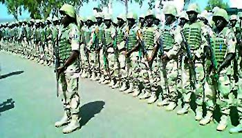 *Nigerian soldiers on intervention mission to Mali.