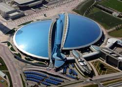 Aspire Dome is seen in Doha in this aerial view. Qatar will host the 2022 World Cup.