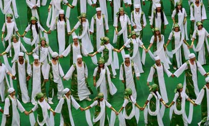 Artists representing Nigeria perform during the opening ceremony of the FIFA Confederations Cup Brazil 2013, held before the Group A football match between Brazil and Japan, at the National Stadium in Brasilia on June 15, 2013.  AFP PHOTO /