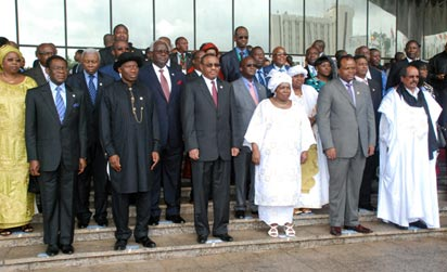 President Goodluck Jonathan with other African leaders shortly after the opening of the AU summit in Abuja, yesterday.
