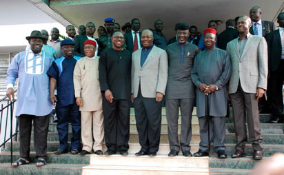 R-L: Governors of Enugu, Ebonyi, Cross River, Akwa Ibom, Anambra, Abia, Delta and  Bayelsa  states, Mr. Sullivan Chime, Mr. Martin Elechi, Sen. Liyel  Imoke, Chief Godswill Akpabio, Mr.  Peter  Obi, Chief Theodore Orji, Chief Emmanuel Uduaghan and Chief Seriake Dickson  in a group photograph shortly after the South-East, South-South Governors meeting at the Government House, Enugu...  yesterday
