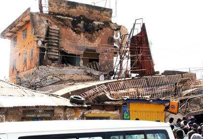 The collapsed building along Hadeija Road, Kaduna. Photo: Olu Ajayi