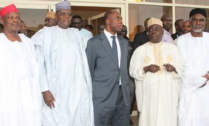 NORTHERN GOVS VISIT AMAECHI—From Left: Governors Rabiu Kwankwaso of Kano State; Sule Lamido of Jigawa; Chibuike Amaechi of Rivers; Babangida Aliyu of Niger, and Murtala Nyako of Adamawa, during the Northern governors' visit to Gov. Amaechi  in Port Harcourt, yesterday. Photo: NAN.