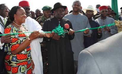 Gov. Sullivan Chime of Enugu state (right) with President Jonathan when he commissioned the expanded runway of the Akanu Ibiam International Airport, Enugu.