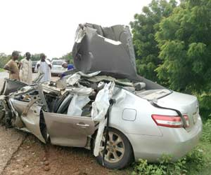 Scene of the accident. were the late Deputy Speaker, Jigawa State House of Assembly died.