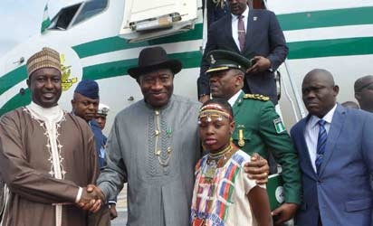 File: Photo NDA—From left: Governor Mukhtar Yero of Kaduna State, welcoming President Goodluck Jonathan and President Alassane Ouattara of Cote D'ivoire at the Kaduna Airport for the Nigerian Defence Academy convocation, weekend.