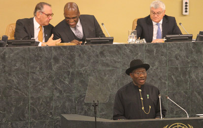 President Goodluck Jonathan  addressing the openimg session of the 68th Session of the United Nations Summit  at the United Nations Organization  Headquarters, New York. Photo by Abayomi Adeshida
