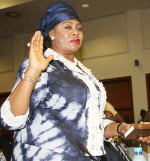 Aviation Minister, Princes Stella Oduah taking the oath before presenting her position beforte the House Committee on aviation during the Public Hearing on the procurement of two BMW Bullet-Proof cars by the NCAA at the National Assembly, Abuja. Photo by Abayomi Adeshida